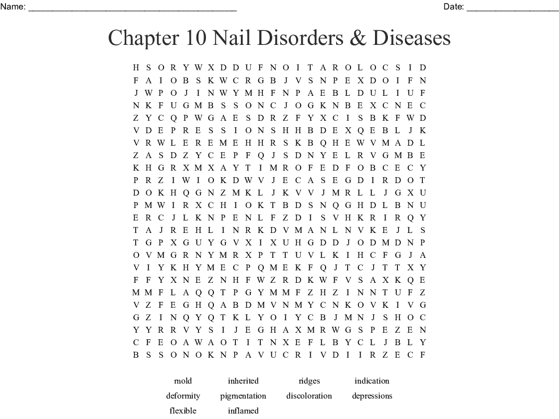 Chapter 10 Nail Disorders Amp Diseases Word Search