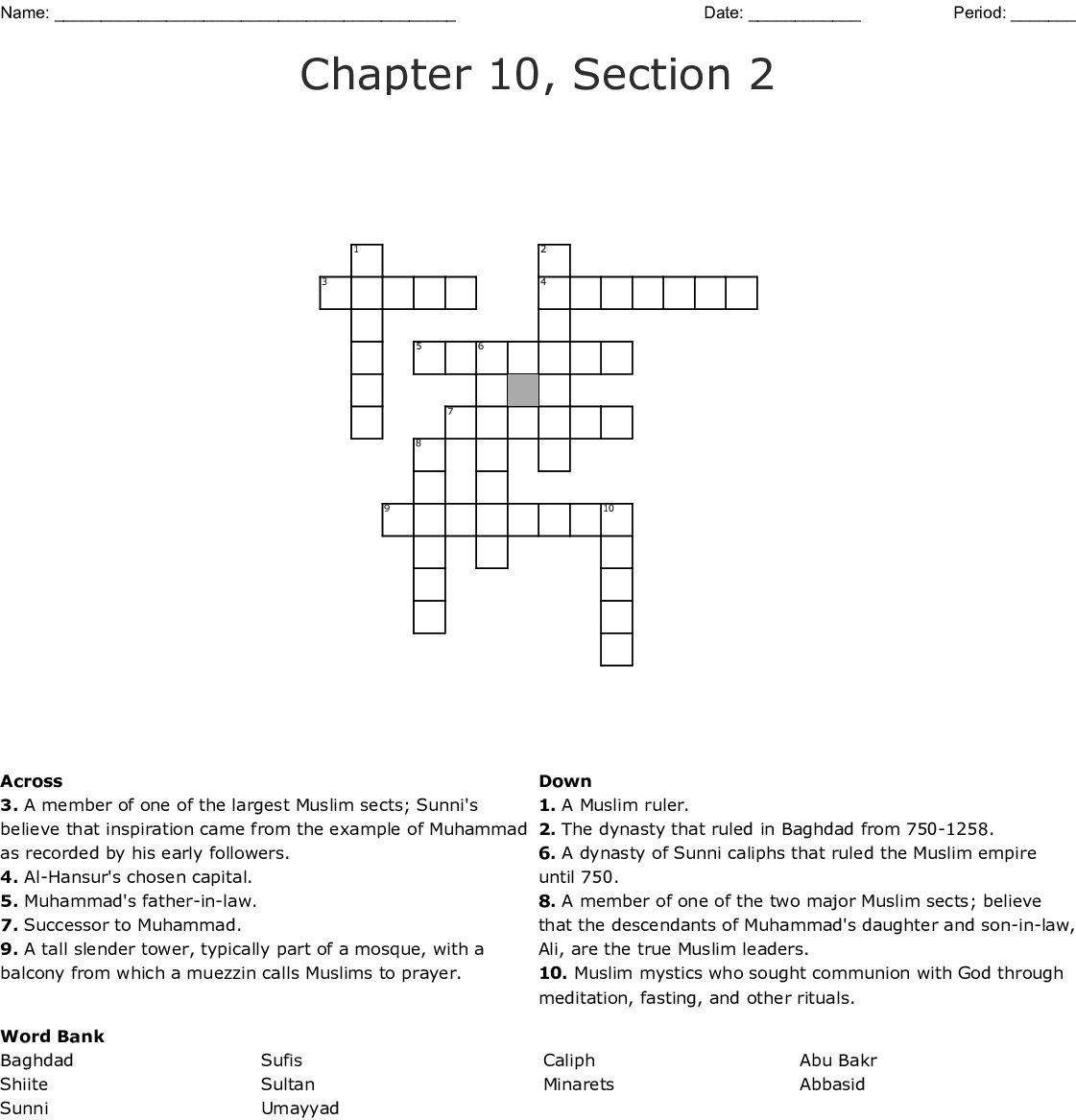 Chapter 10 Section 2 Crossword