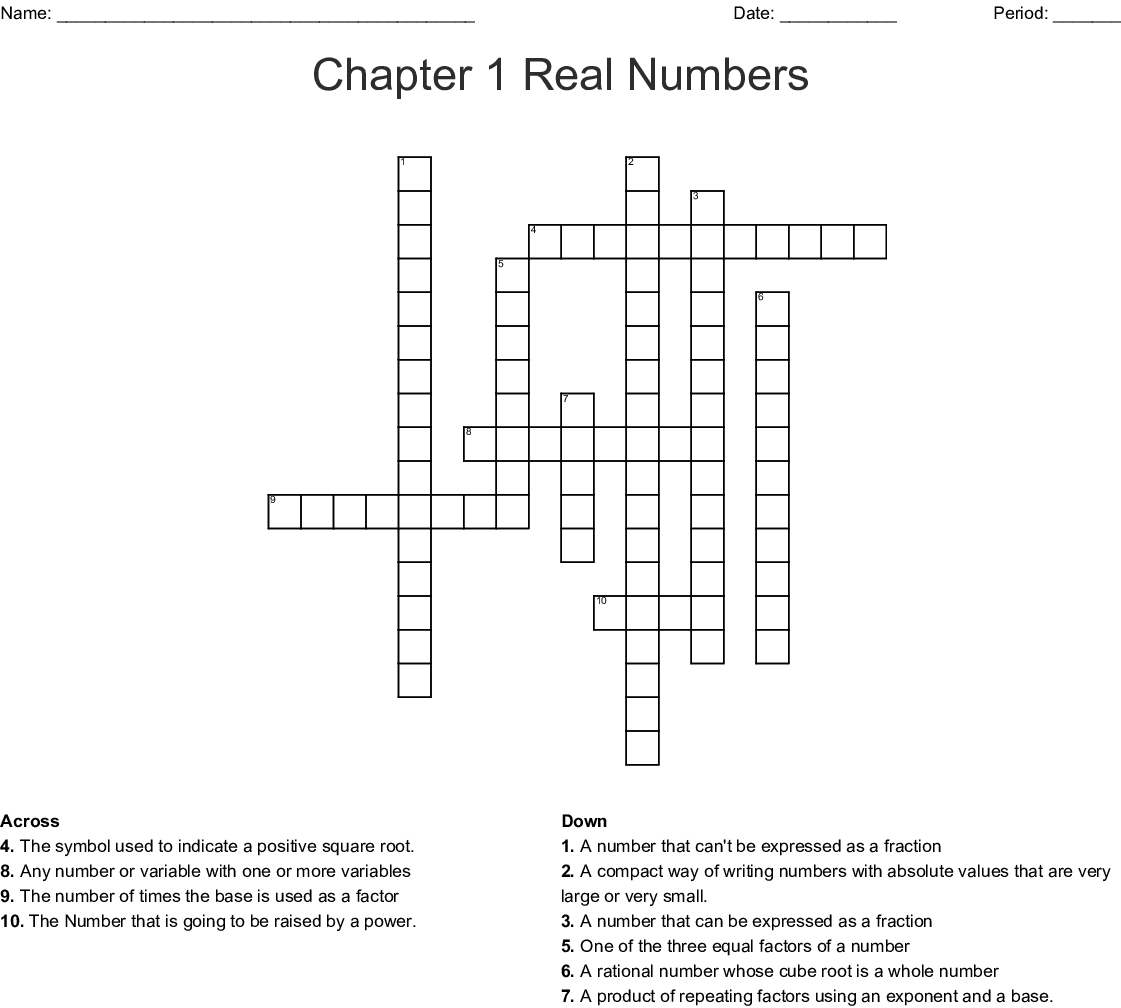 Chapter 1 Real Numbers Crossword