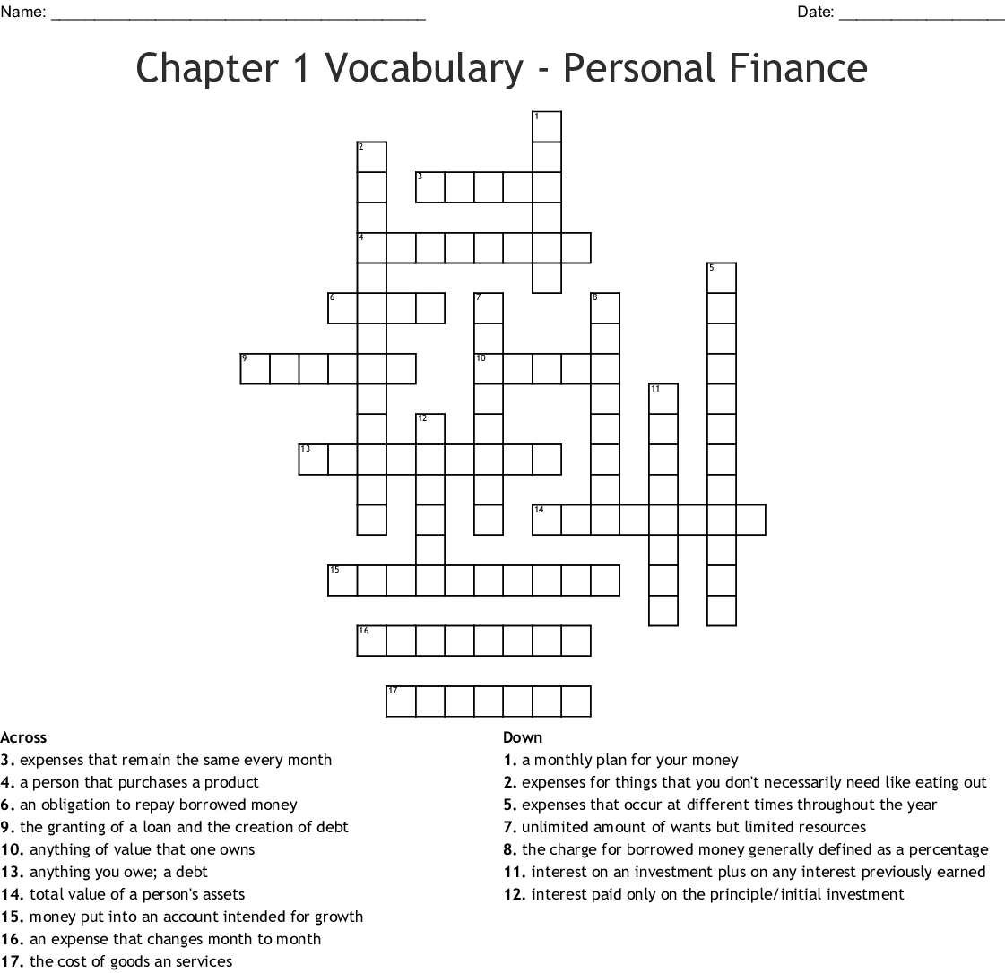 Finance Crosswords Word Searches Bingo Cards