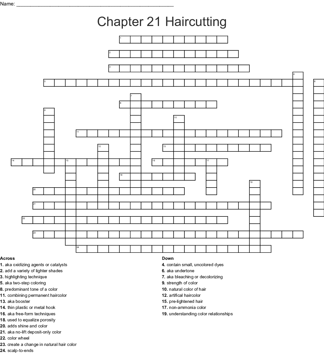 Haircoloring Chapter 21 Word Search
