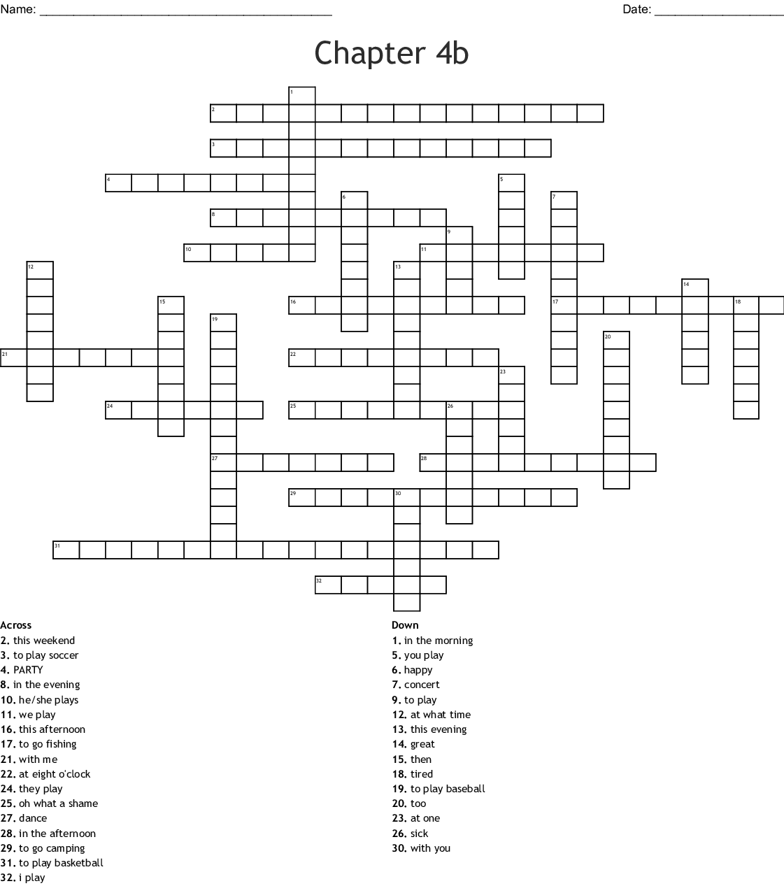 4a 8 Spanish Crossword Answers Realidades 1