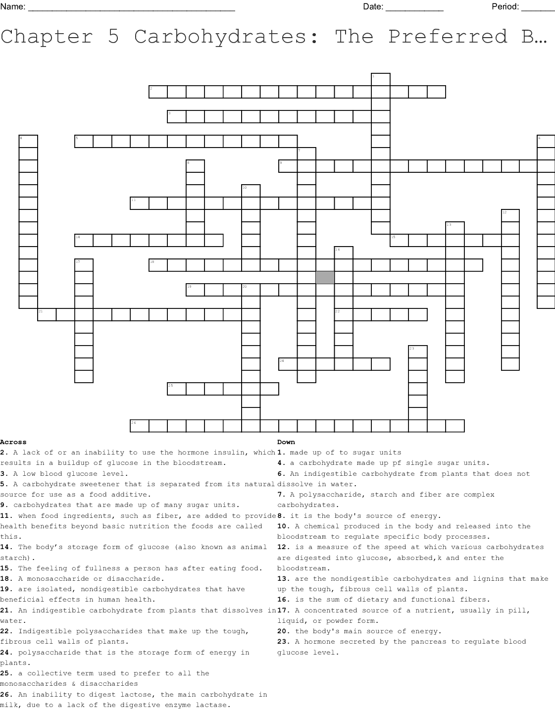 Food And Nutrition Crossword