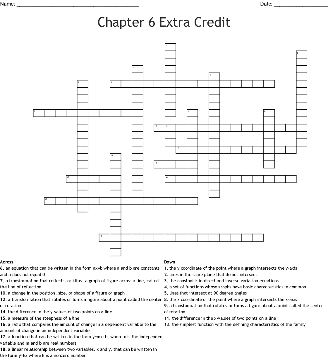 Chapter 6 Extra Credit Crossword