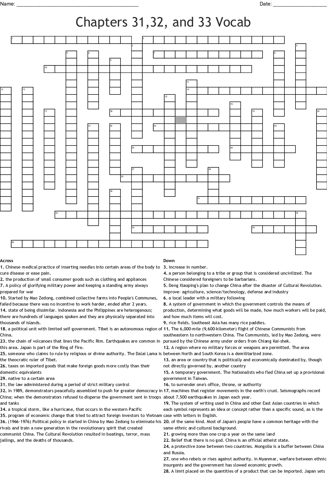 Chapters 31 32 And 33 Vocab Crossword