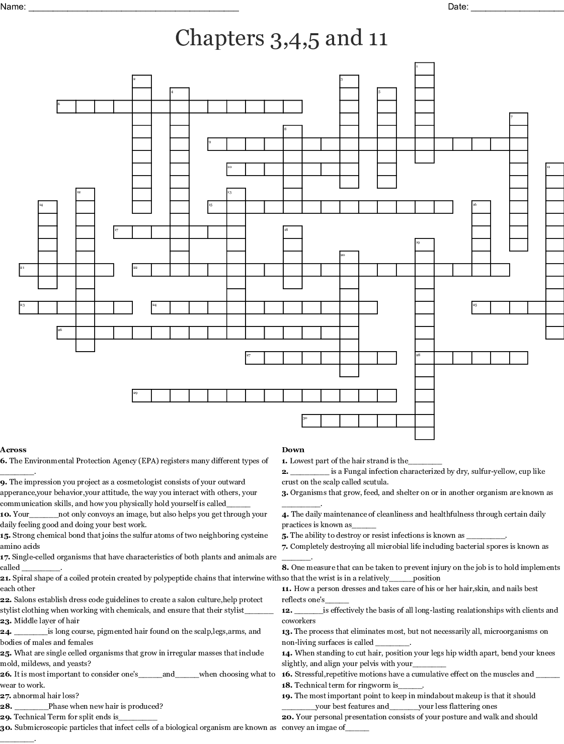 Chapters 3 4 5 And 11 Crossword