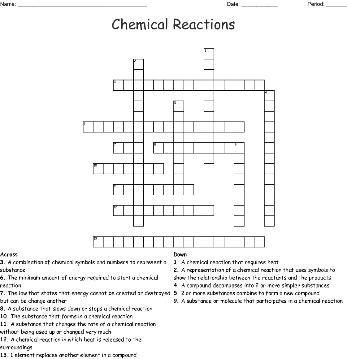 Chemical Reactions Review Worksheet Answers