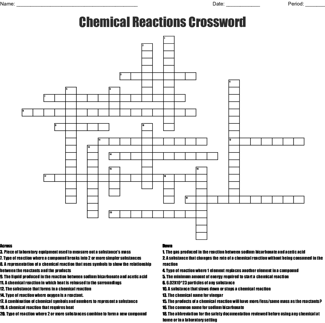 Chemical Reactions Crossword