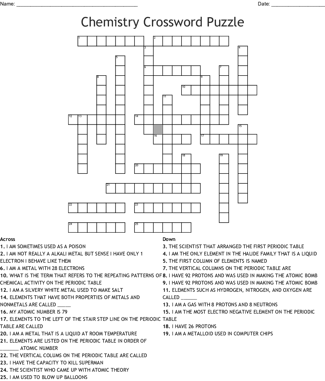 Periodic Table Crossword Puzzle Answers I Have 26 Protons