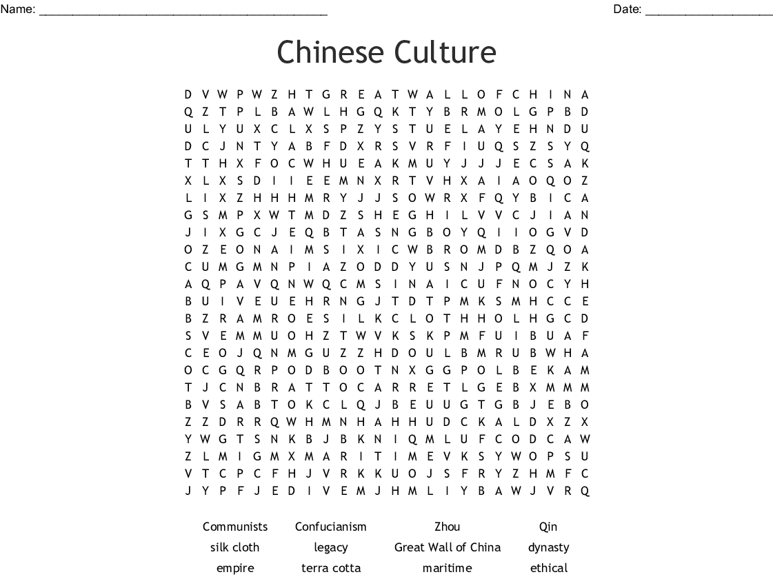 Chinese Culture Word Search