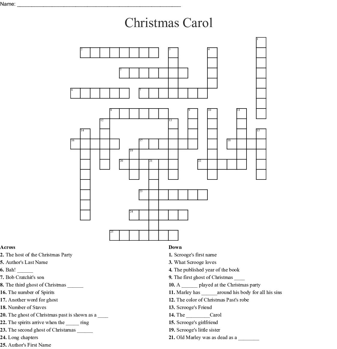Similar To A Christmas Carol Word Search