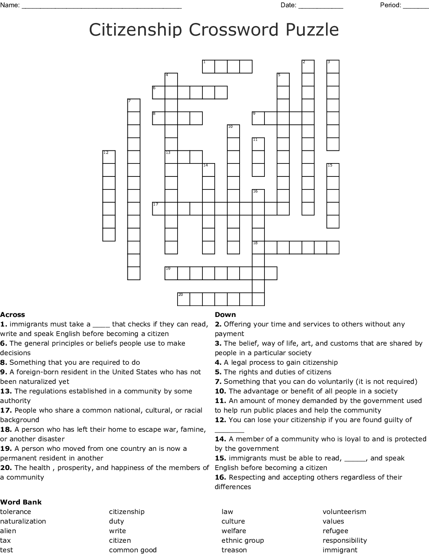 Citizenship Crossword Puzzle