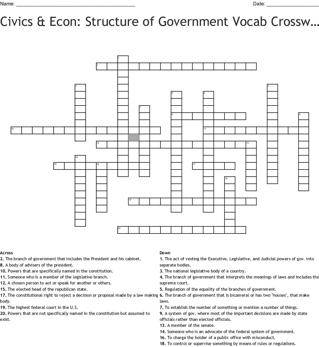 U S Government Crossword