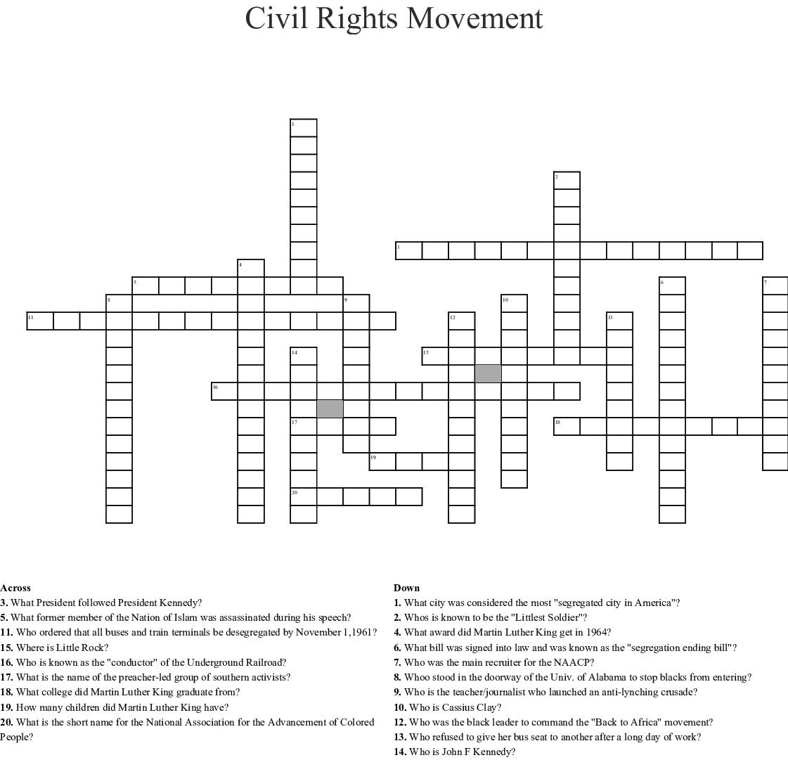 Civil Rights Leaders Word Search