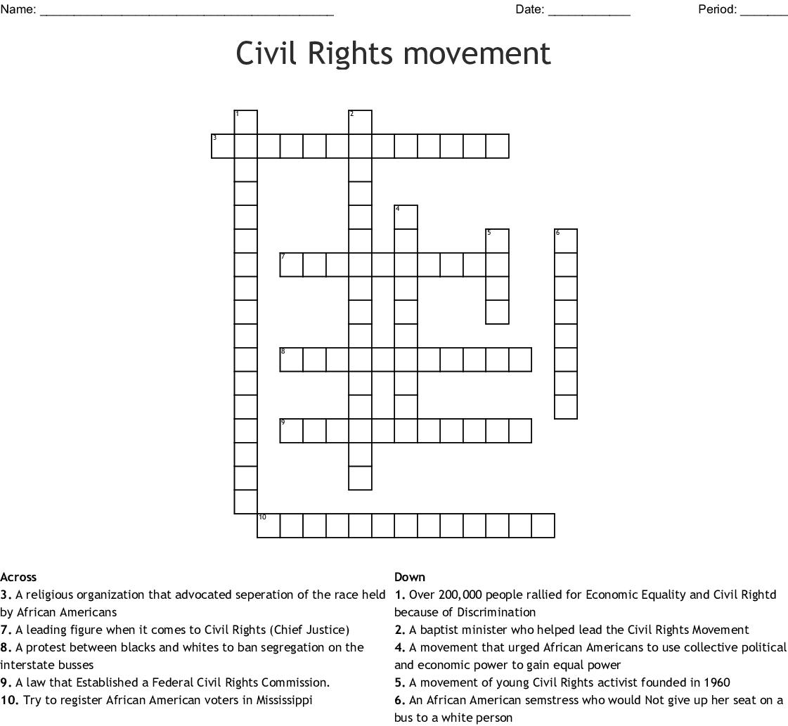 Civil Rights Movement Crossword