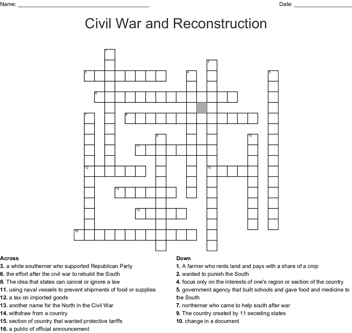 Civil War And Reconstruction Crossword