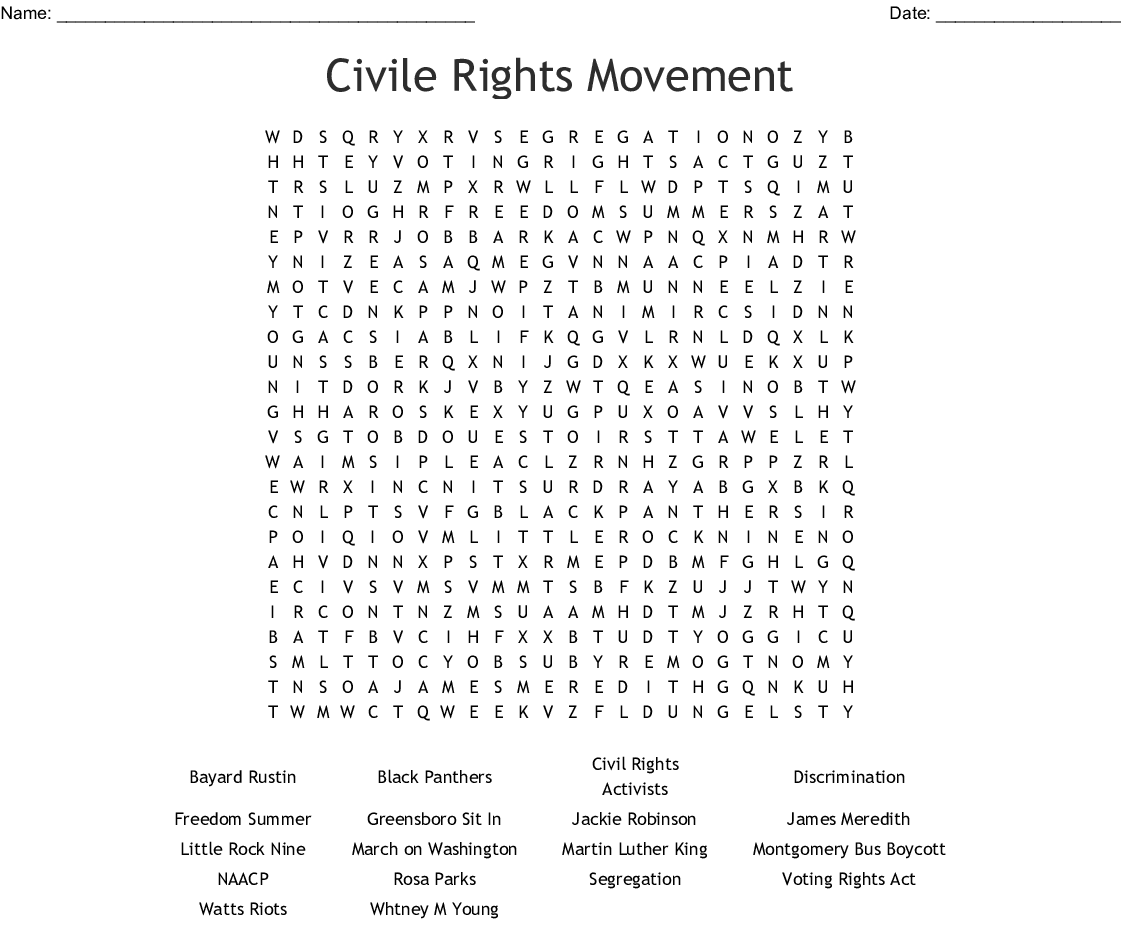 Civil Rights Movement Word Search