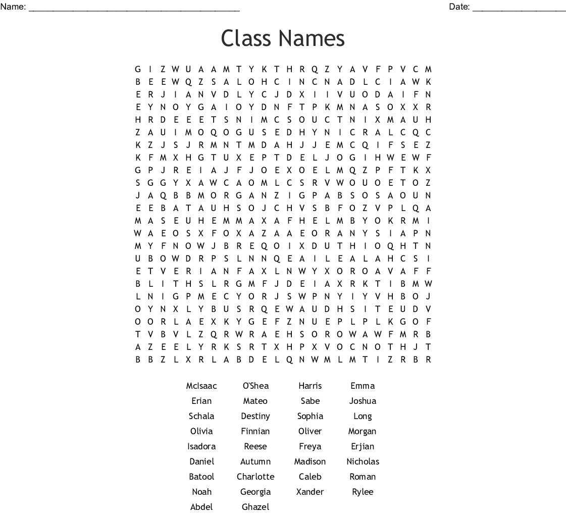 Class Names Word Search