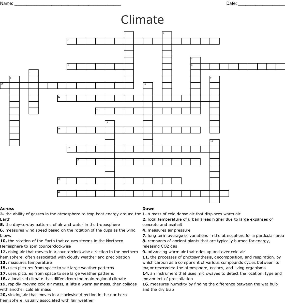 Climate Crossword