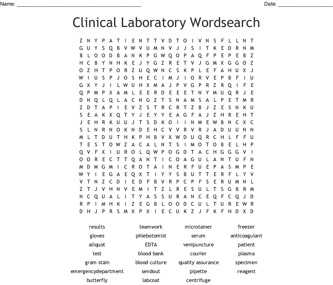 Phlebotomy Crossword