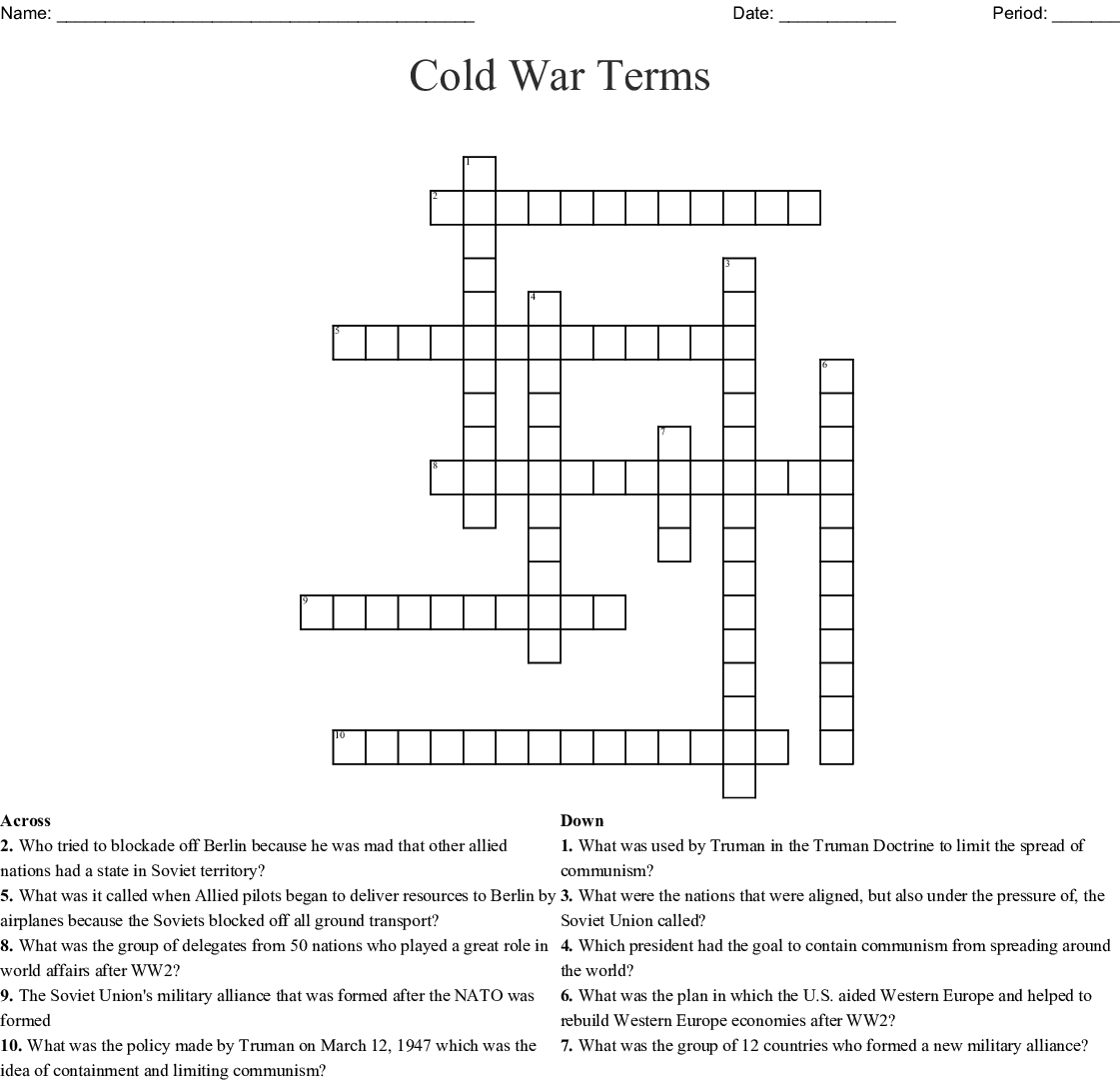 Cold War Review Crossword Puzzle Answers