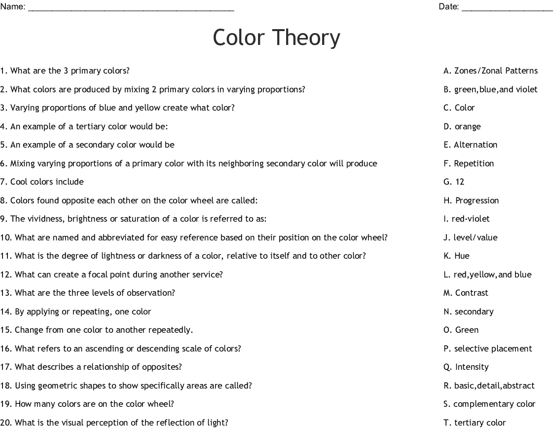 Color Theory Word Search