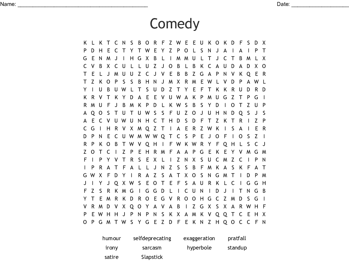 Comedy Word Search