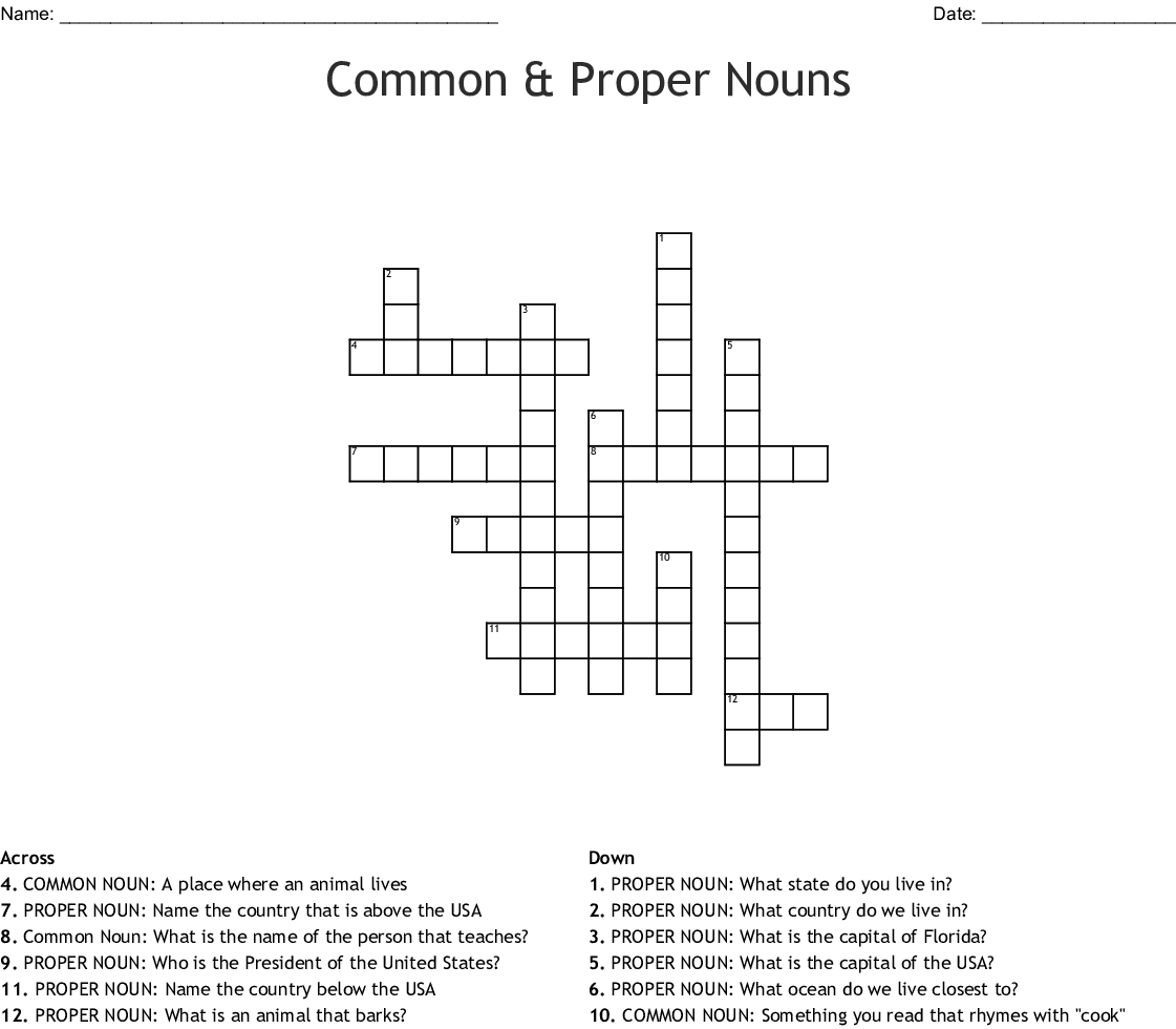 Common Amp Proper Nouns Crossword