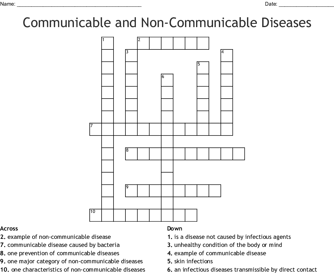 Communicable And Non Communicable Diseases Crossword