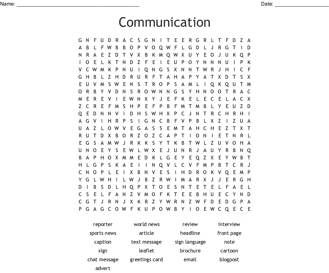 Communication Word Search
