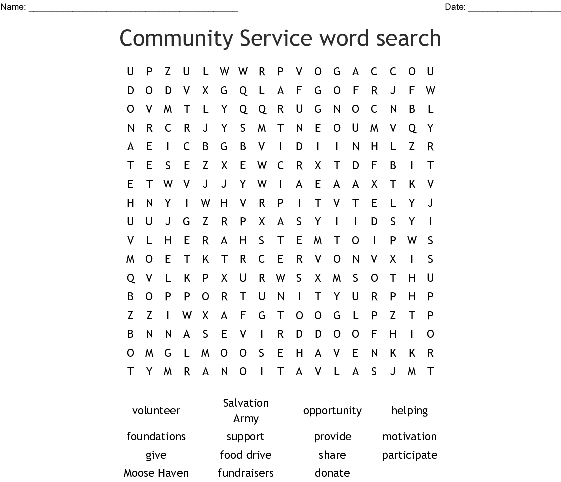 Homeless Word Search