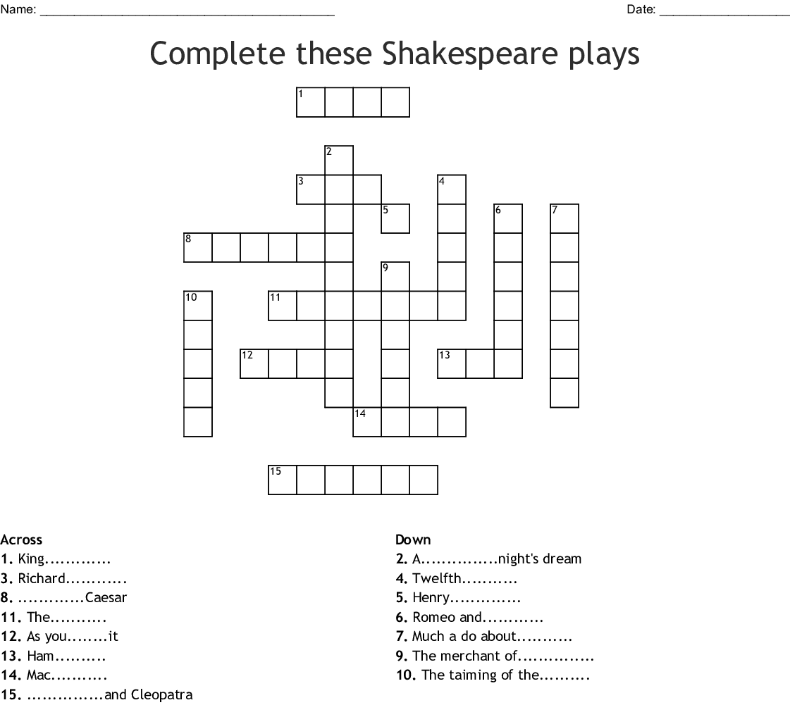 William Shakespeare Word Search