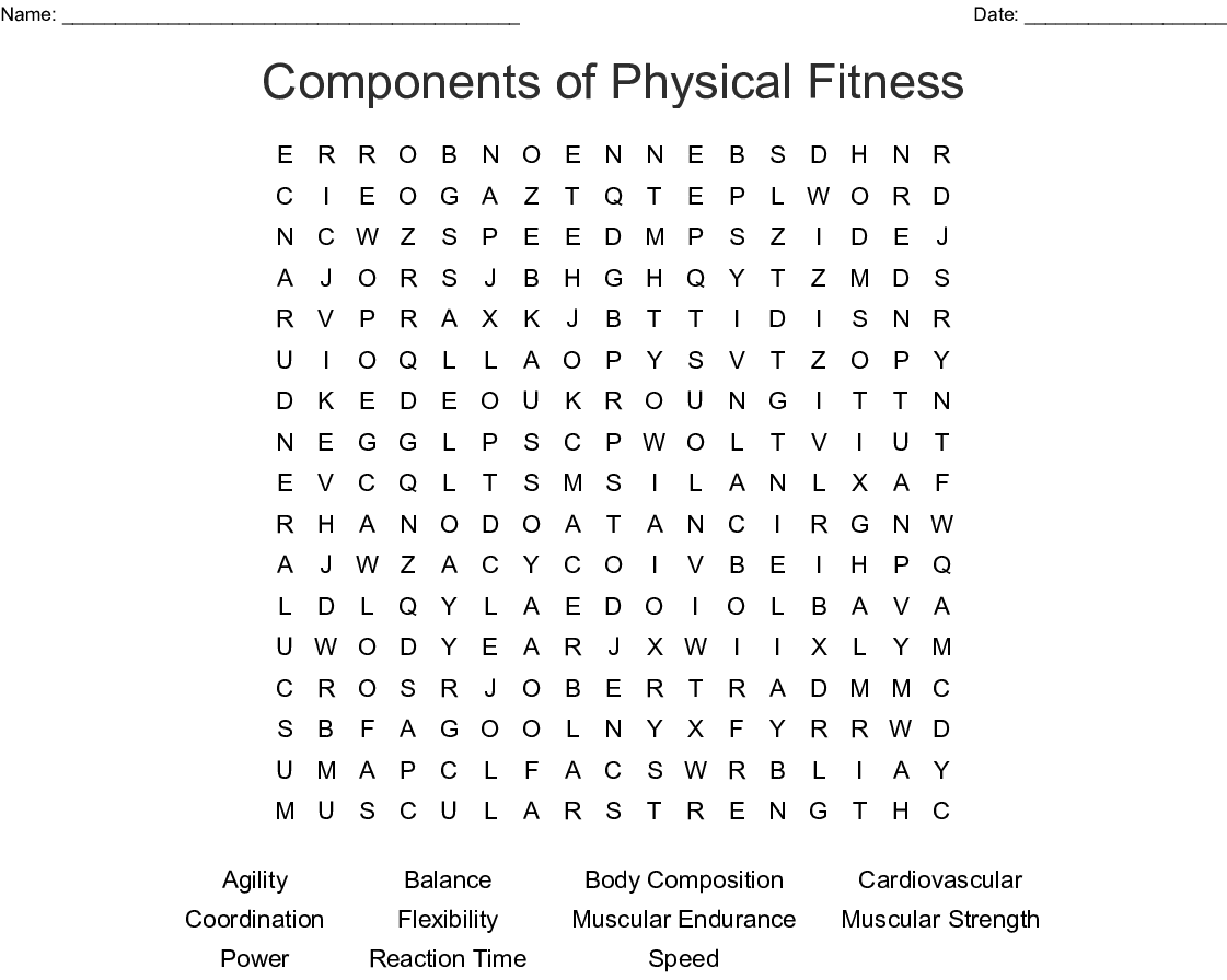 Components Of Physical Fitness Word Search
