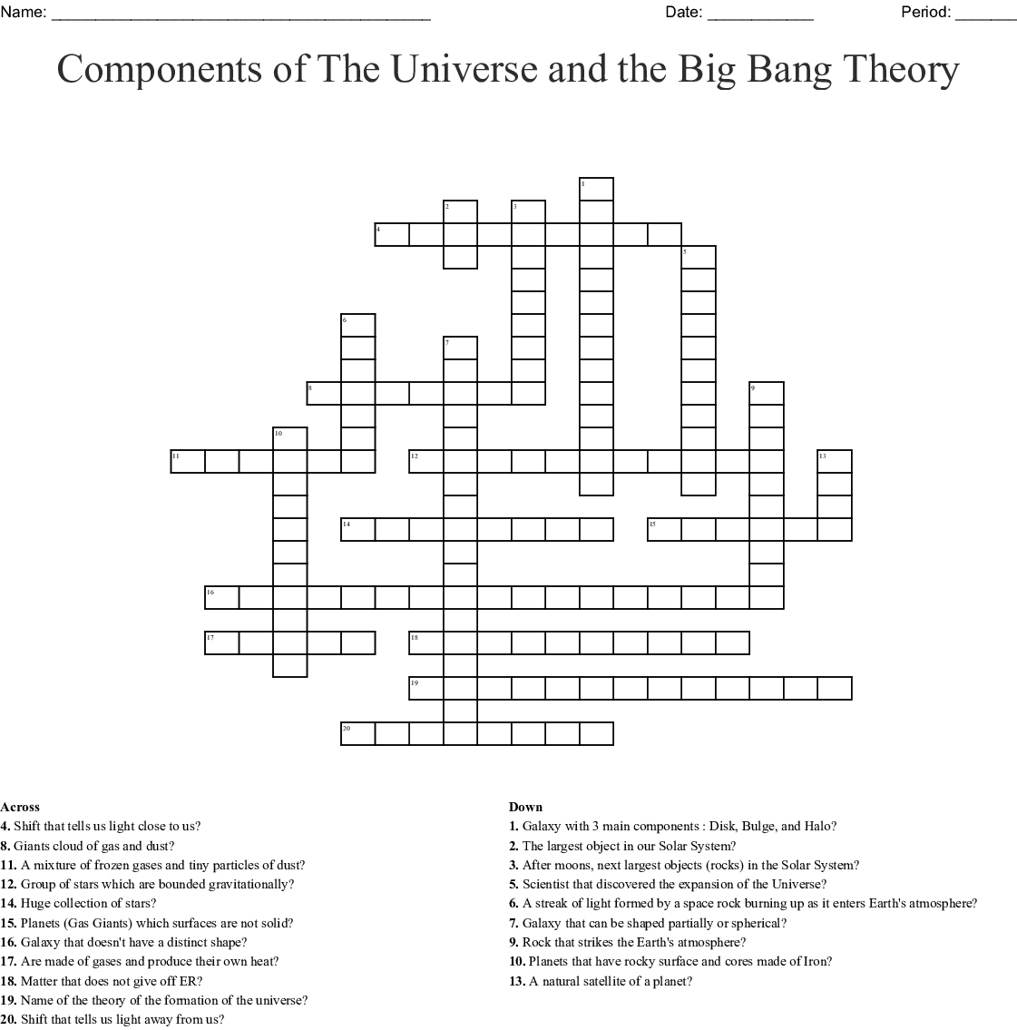 hight resolution of Components of The Universe and the Big Bang Theory Crossword - WordMint