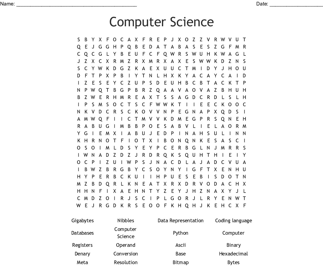 Computer Science Vocab Word Search