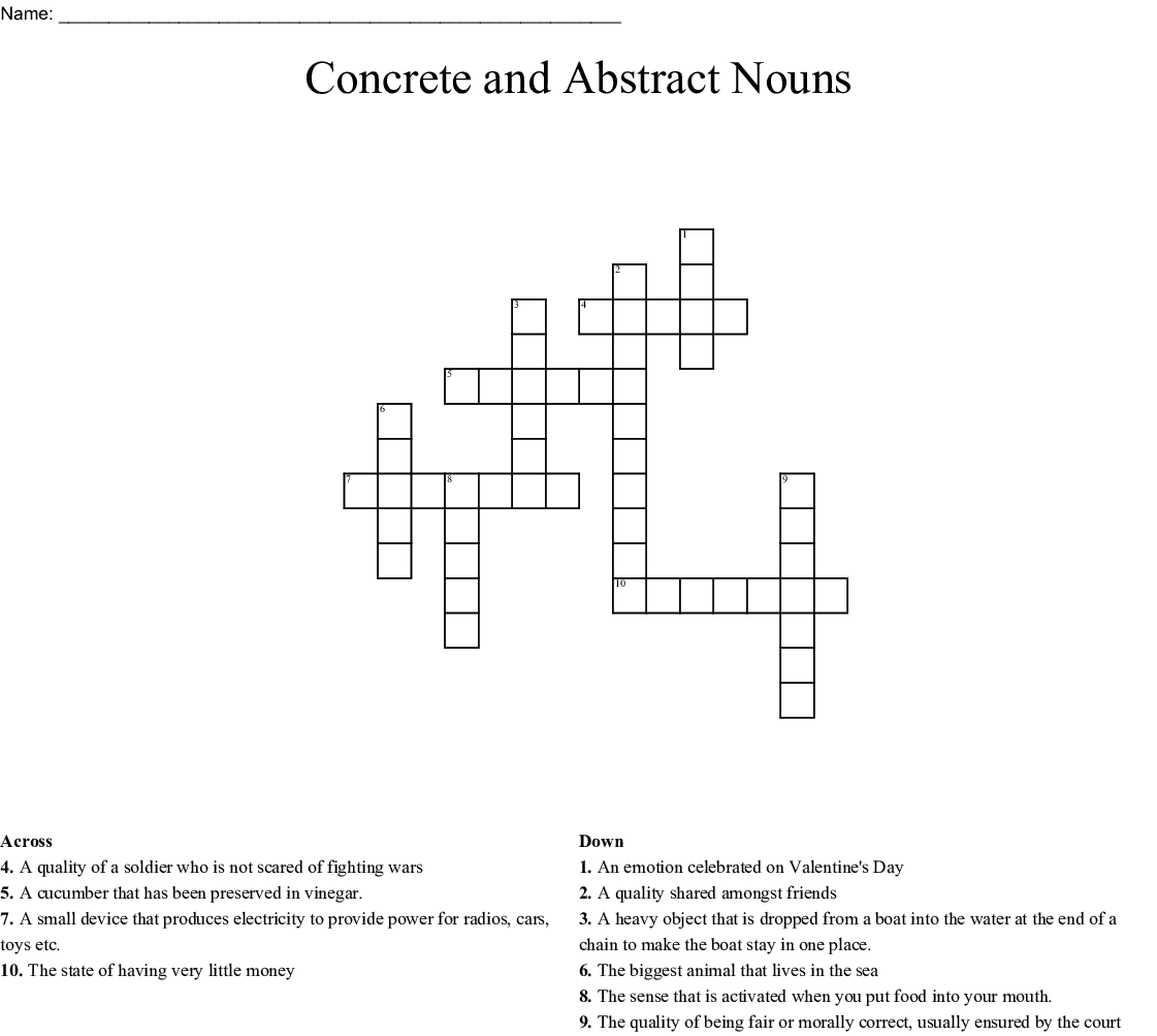 Concrete And Abstract Nouns Crossword