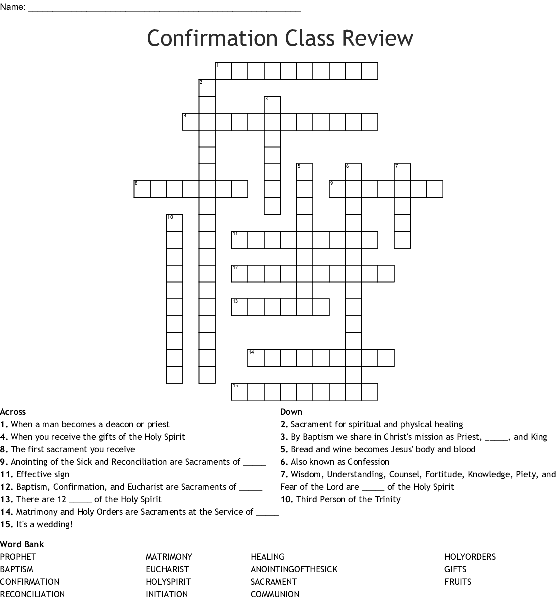 Chapter 39 Confirmation Crossword