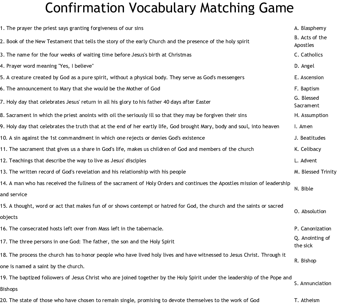 Confirmation Vocabulary Matching Game Worksheet