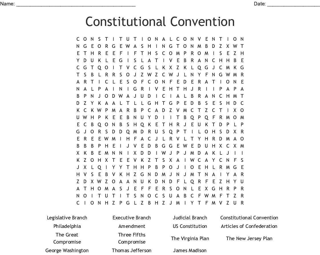 The Us Constitution Worksheet Virginia Plan Answers