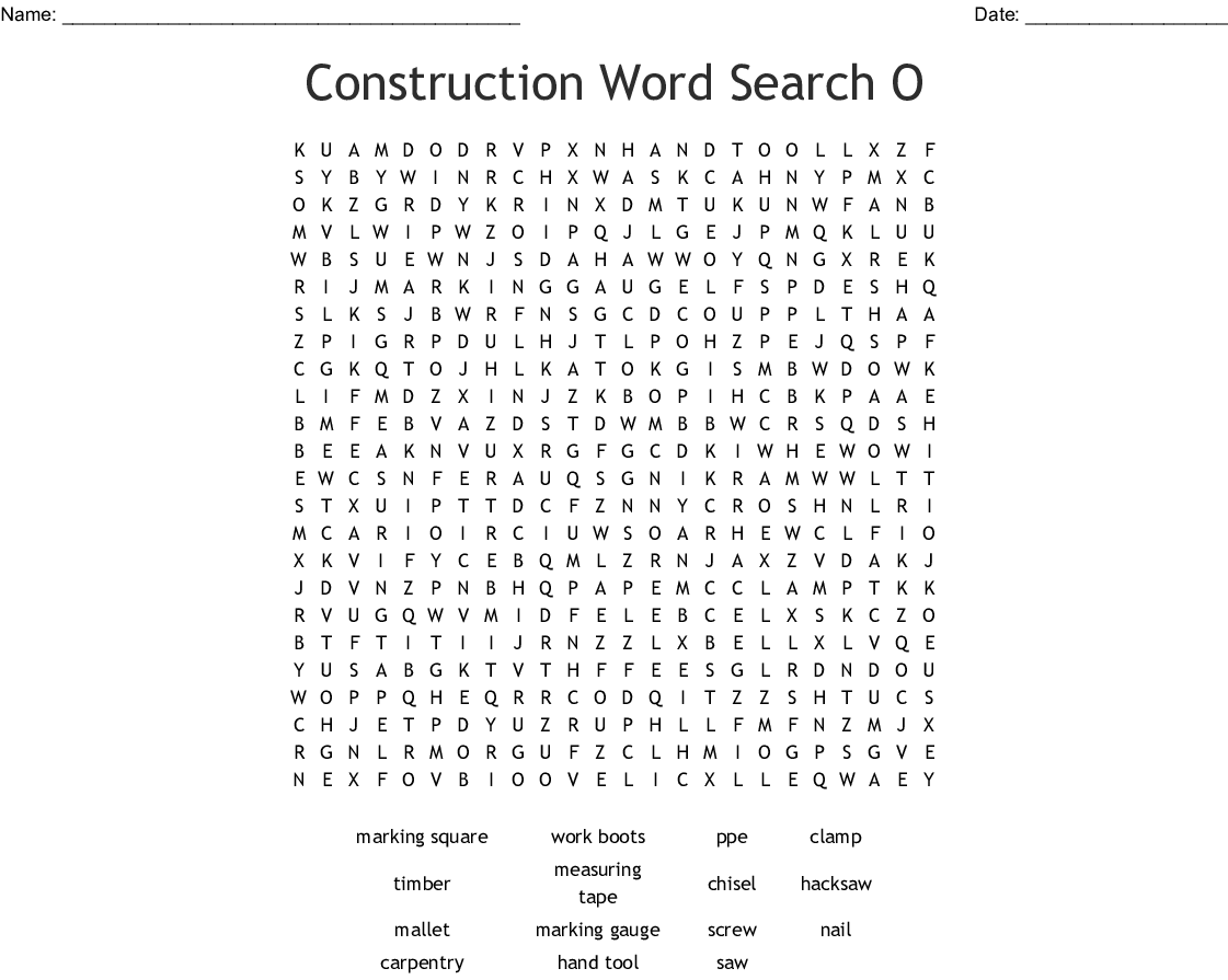 Carpentry Tools Word Search
