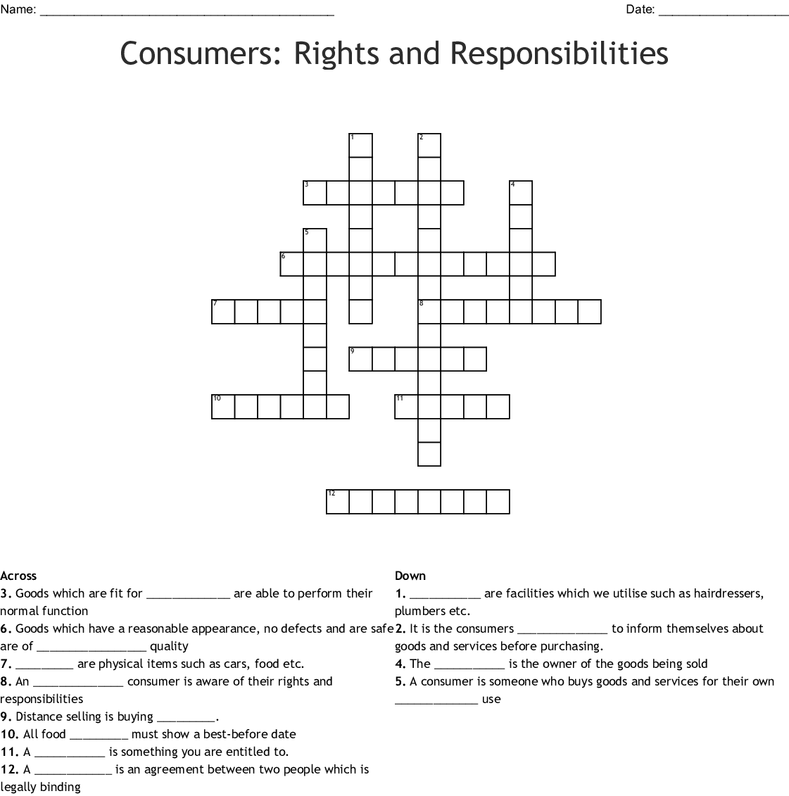 Consumers Rights And Responsibilities Crossword