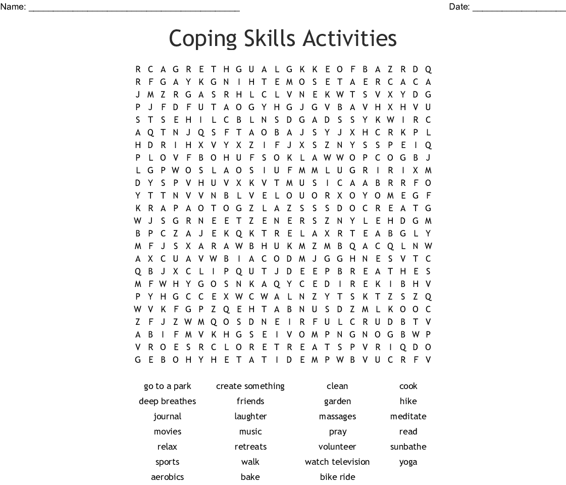 Coping Skills Activities Word Search