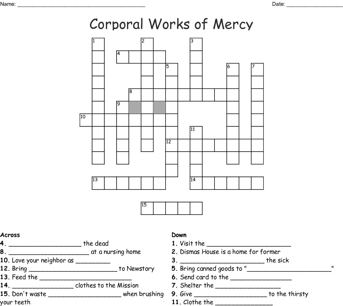 Corporal Works Of Mercy Crossword