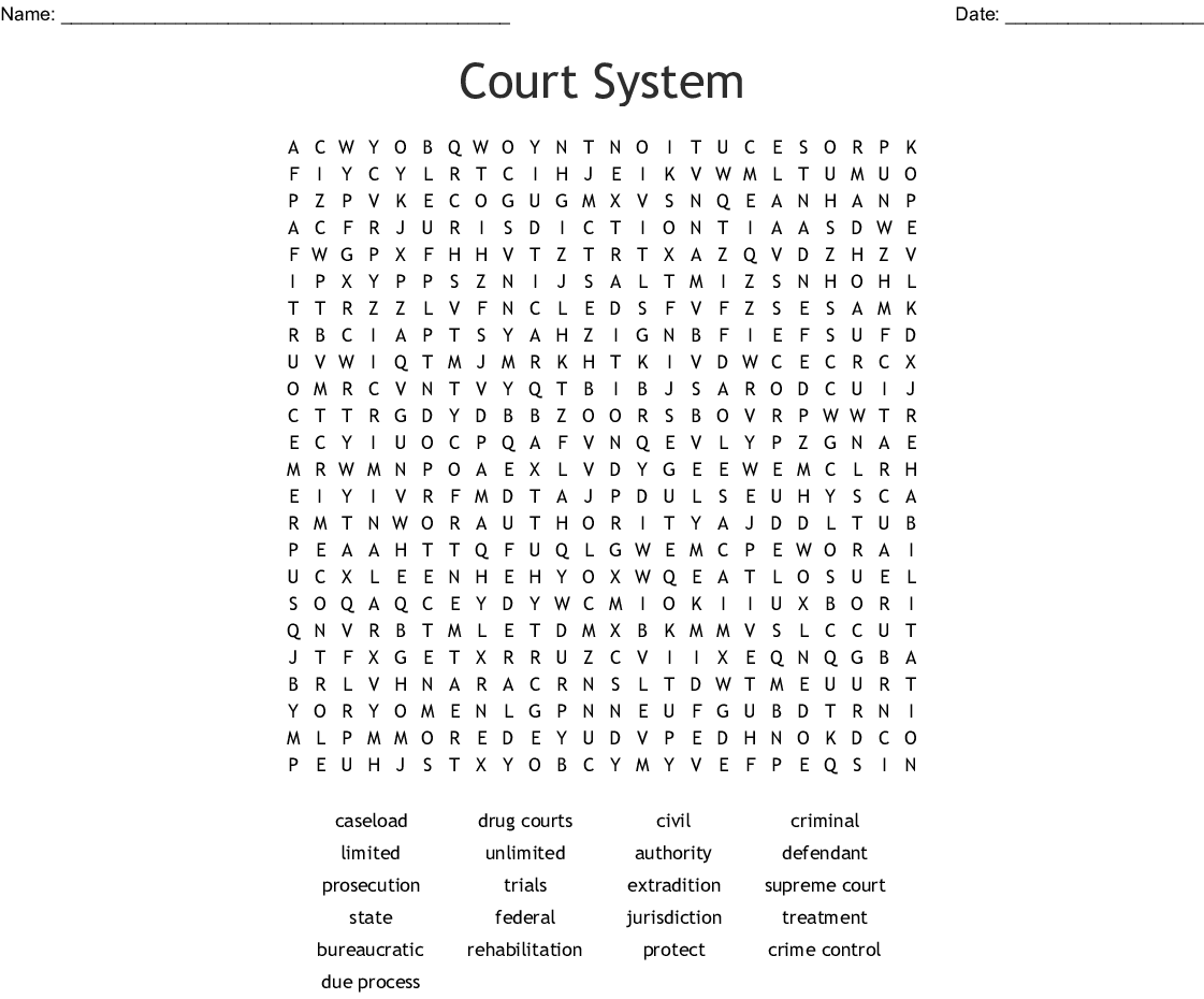 Court System Word Search