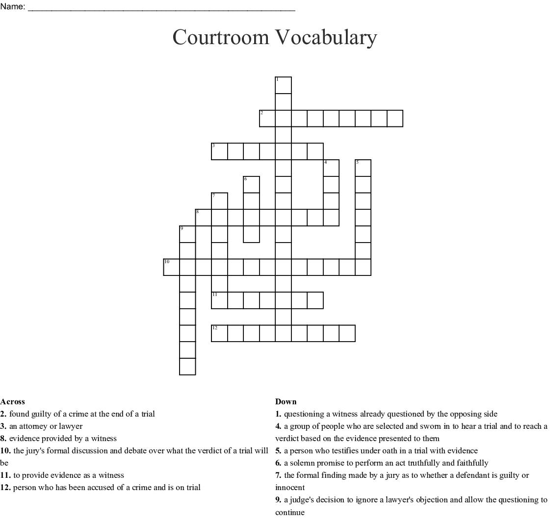 Competency Restoration Crossword