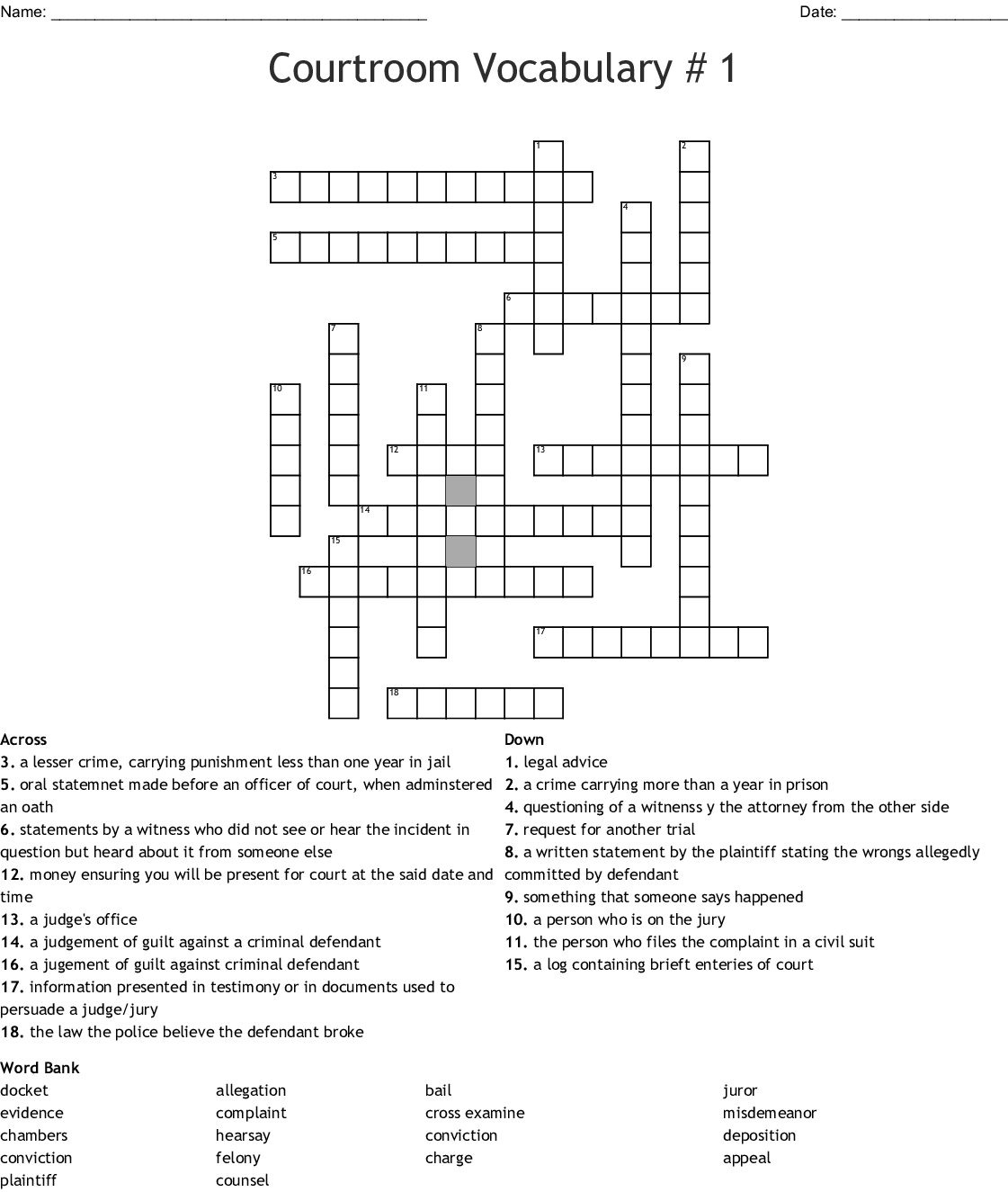 Courtroom Vocabulary 1 Crossword
