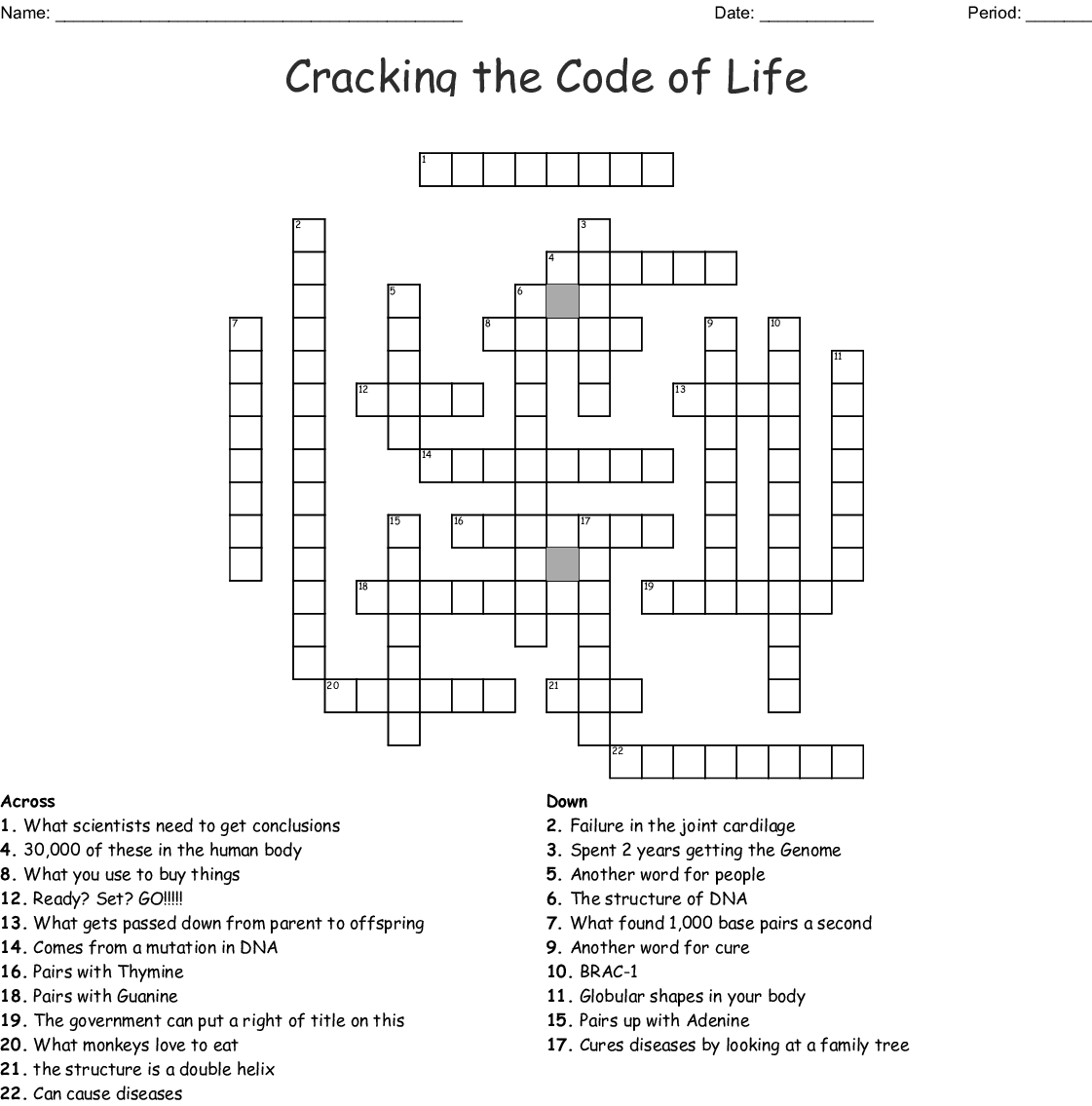 Cracking The Code Of Life Crossword