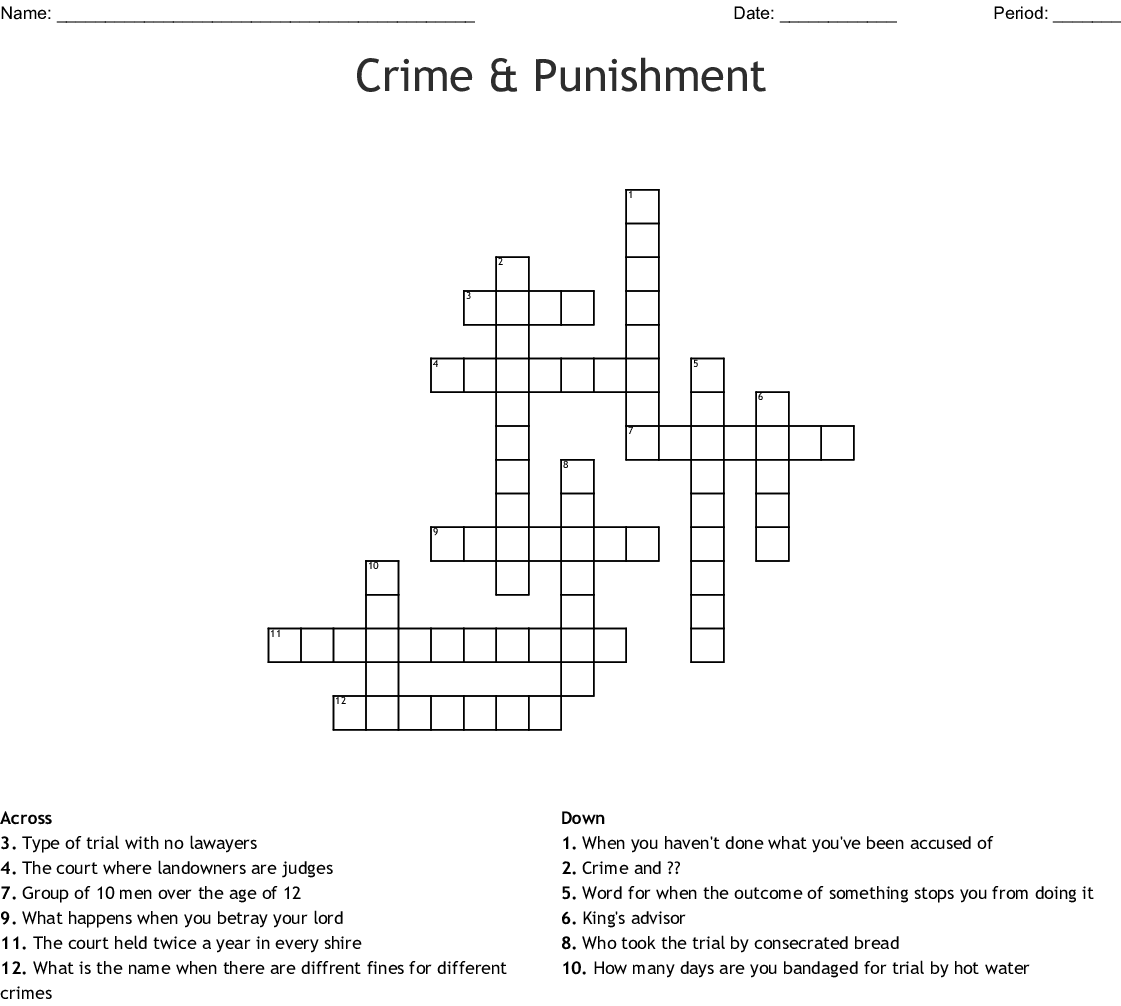 Crime Amp Punishment Crossword
