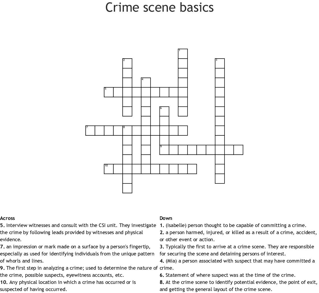 Crime Scene Basics Worksheet
