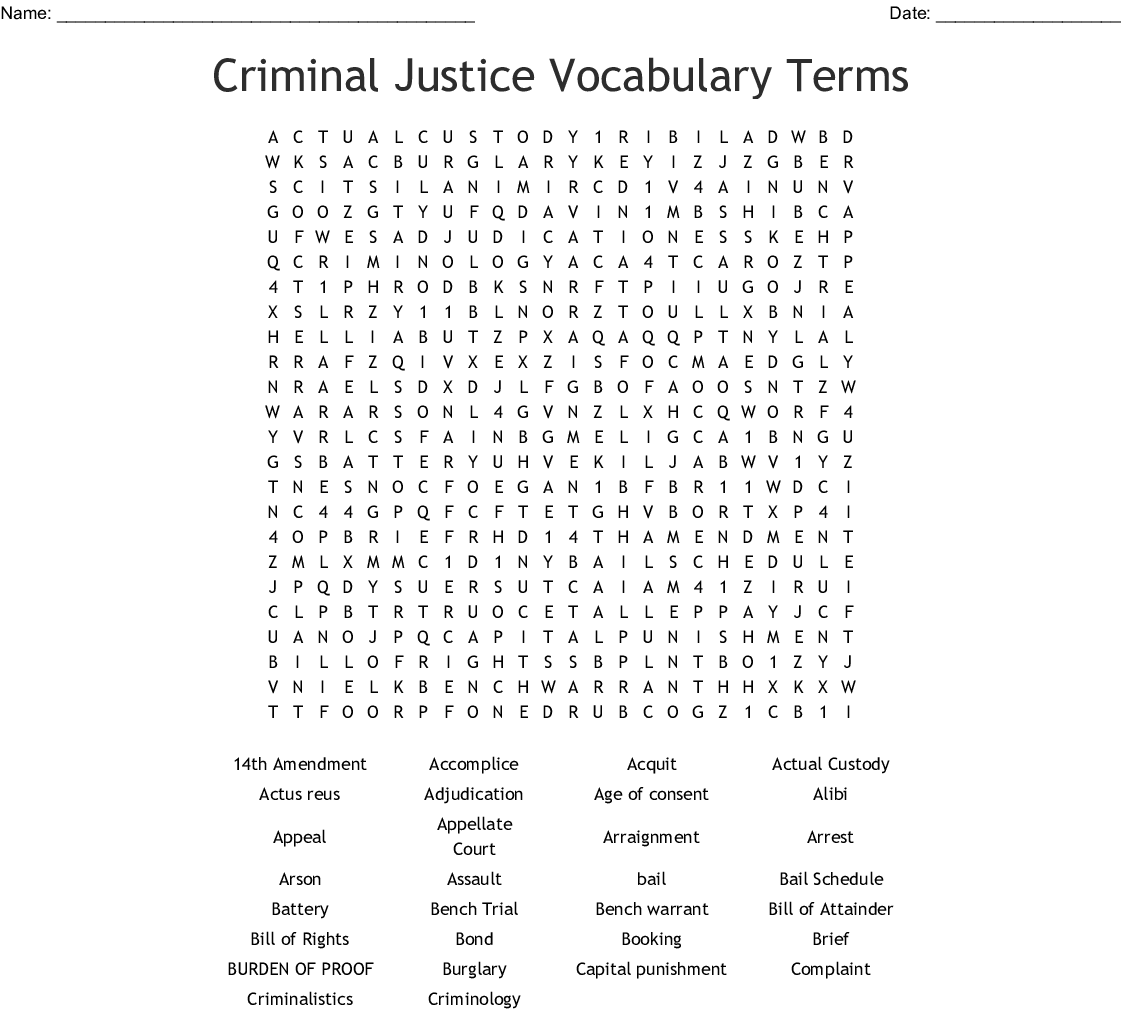 Criminal Justice Vocabulary Terms Word Search